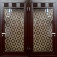 Входная техническая дверь с порошковым напылениемсо стеклом с 2-х сторон