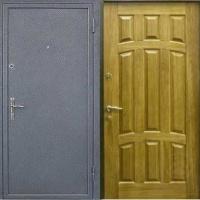 Железная техническая дверь с порошковым напылением и массивом