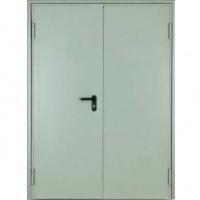 Железная техническая дверь с простым окрасом с двух сторон