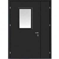 Стальная техническая  дверь с порошковым напылением и стеклом