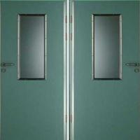 Входная техническая дверь с обычным окрасом и стеклом с двух сторон