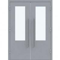 Металлическая двустворчатая техническая дверь с порошковым напылением и стеклом