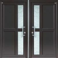 Входная техническая дверь с порошковым напылением и стеклом с обоих сторон