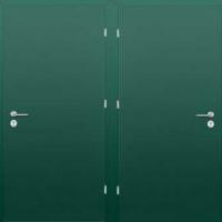 Железная техническая дверь с обычным окрасом с двух сторон