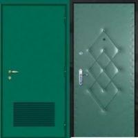 Железная техническая дверь с простым окрасом и винилискожей с рисунком