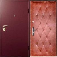 Стальная техническая дверь с порошковым напылением и винилискожей  с рисунком