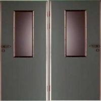 Железная техническая дверь с порошковым напылением и стеклом с 2-х сторон