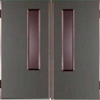 Входная техническая дверь с порошковым напылением и стеклом