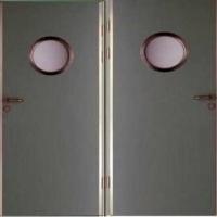 Стальная техническая дверь с порошковым напылением и стеклом с двух сторон