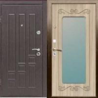 Стальная дверь в квартиру с МДФ с 2-х сторон  с зеркалом