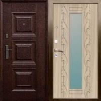 Железная дверь в квартиру с МДФ с 2-х сторон  с зеркалом