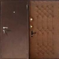 Стальная дверь в квартиру с порошковым напылением и винилискожей с рисунком