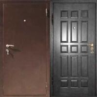 Железная уличная дверь с порошковым напылением и массивом