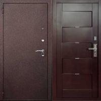 Входная уличная дверь с порошковым напылением и массивом