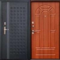 Входная уличная дверь с порошковым напылением и МДФ