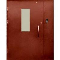 Железная дверь в подъезд с порошковым напылением и стеклом с двух сторон