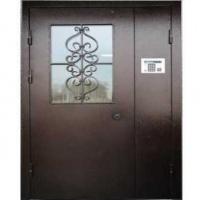 Входная дверь в подъезд с порошковым напылением со стеклом и ковкой