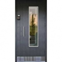 Входная дверь в подъезд с порошковым напылением и стеклом