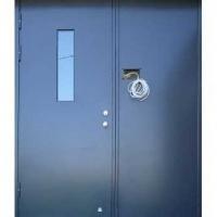 Металлическая дверь в подъезд с НЦ покрасом и стеклом с обоих сторон