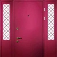 Металлическая тамбурная дверь с НЦ окрасом и стеклом с обоих сторон