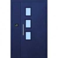 Стальная тамбурная дверь с НЦ окрасом и стеклом с двух сторон