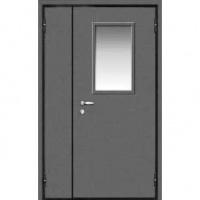 Металлическая тамбурная дверь с порошковым окрасом и стеклом с 2-х сторон